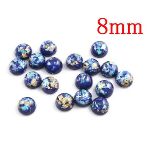 8mm Blue gold green yellow cabochon - 8mm Glitter Cabochon -8mm Domed Flat Back cabochons - 8mm glitter cabochons (2213)
