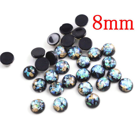 8mm Black gold green blue yellow cabochon - Glitter Cabochon - Domed Flat Back cabochon - 8mm glitter cabochon (2214)