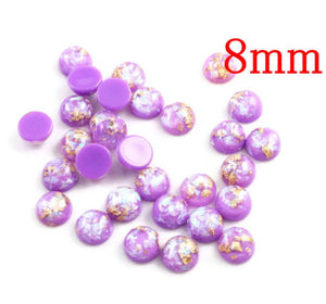 8mm Purple gold gray cabochon - Glitter Cabochon - Domed Flat Back cabochons - 8mm glitter cabochons (2217)