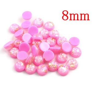 8mm Pink gold grey cabochon - Glitter Cabochon - Domed Flat Back cabochons - 8mm glitter cabochons (2218)