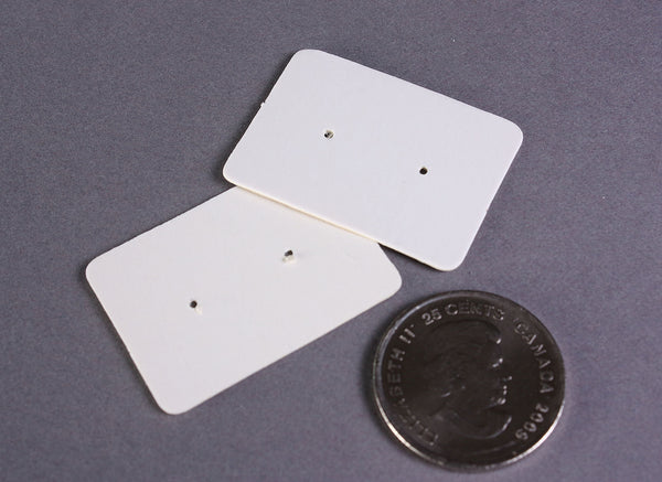 White Earring cards - White post earring card - Kraft Paper Stud Earrings - White Kraft Paper Rectangle earring cards - 25mm x 35mm (2098)