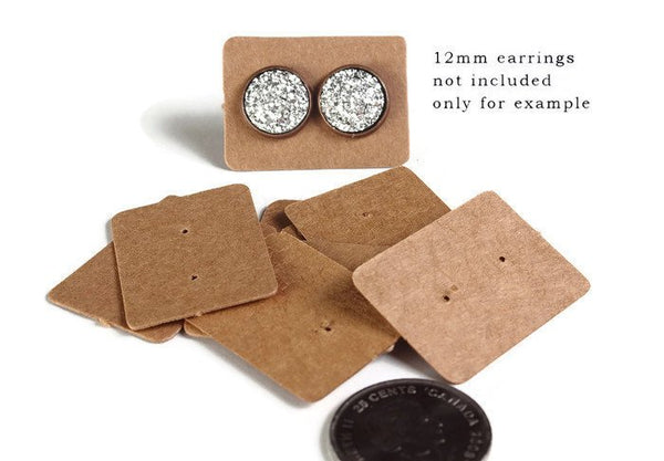 Brown Earring cards - Brown post earring card - Kraft Paper Stud Earrings - Brown Kraft Paper Rectangle earring cards - 25mm x 35mm (2099)