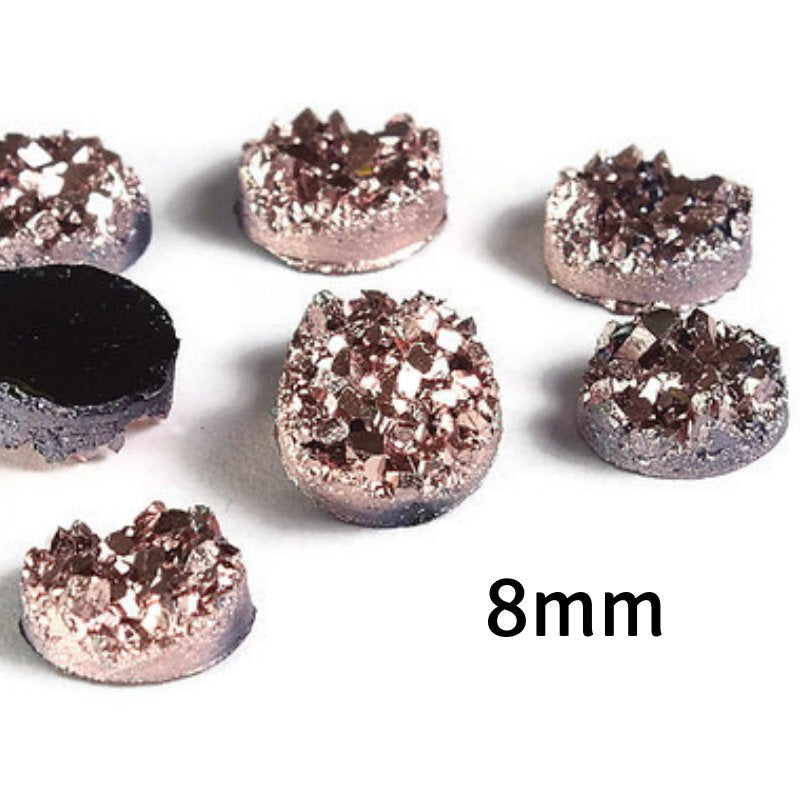 8mm Rose gold round resin cabochon - Faux druzy cabochon - Faux drusy cabochon - Textured cabochons (2150)