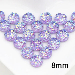 8mm purple round cabochon - Lilac Resin cabochon - Faux druzy cabochon - Faux drusy cabochon - Textured cabochons - chunky Cabochon (2205)