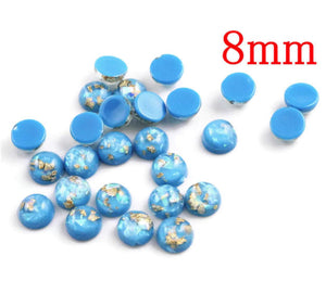 8mm Blue and gold cabochon - 8mm AB finish cabochon - Glitter Cabochon - Domed Flat Back cabochons - 8mm glitter cabochons (2210)