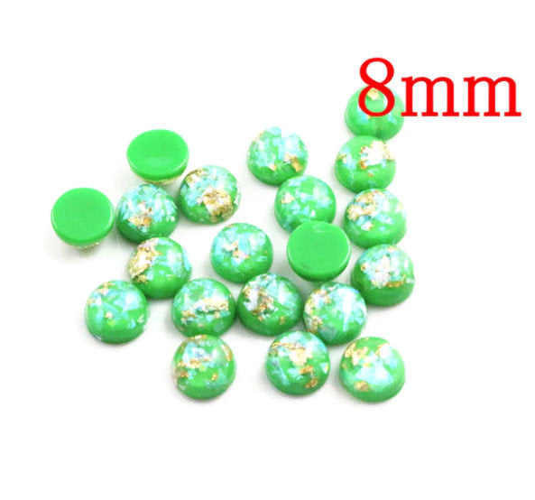 8mm Green and gold cabochon - 8mm AB finish cabochon - Glitter Cabochon - Domed Flat Back cabochons - 8mm glitter cabochons (2211)