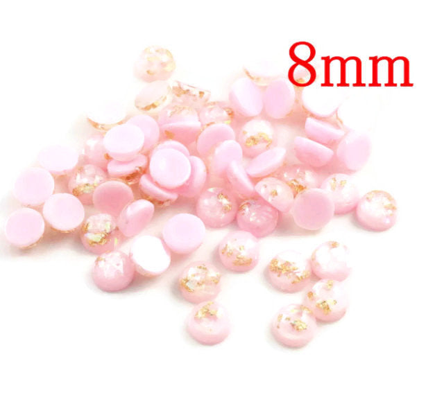 8mm Pink gold grey cabochon - Glitter Cabochon - Domed Flat Back cabochons - 8mm glitter cabochons (2215)
