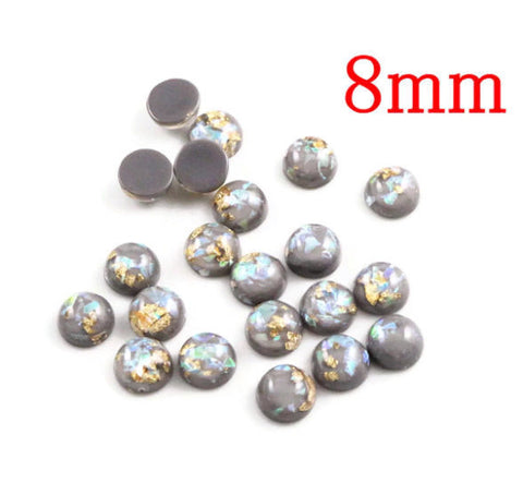 8mm Gray gold cabochon - Glitter Cabochon - Domed Flat Back cabochons - 8mm glitter cabochons (2216)