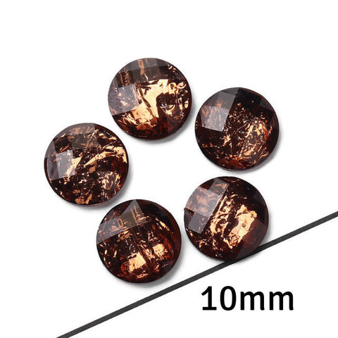 10mm Copper foil cabochon - 10mm AB Orange Coffee Faceted Cabochon - Domed Flat Back cabochons - 10mm Iridescent cabochon (2232)