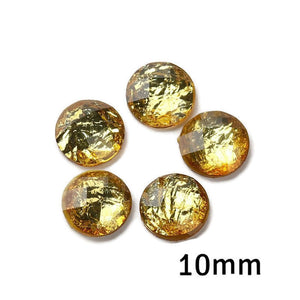 10mm Gold color foil cabochon - 10mm AB Gold Faceted Cabochon - Domed Flat Back cabochons - 10mm Iridescent cabochon (2235)