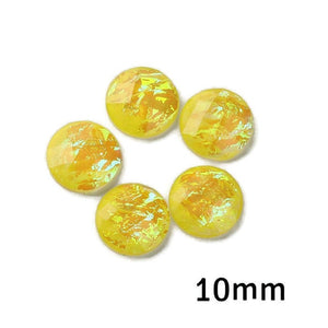 10mm AB yellow foil cabochon - 10mm AB Yellow Faceted Cabochon - Domed Flat Back cabochons - 10mm Iridescent cabochon (2243)