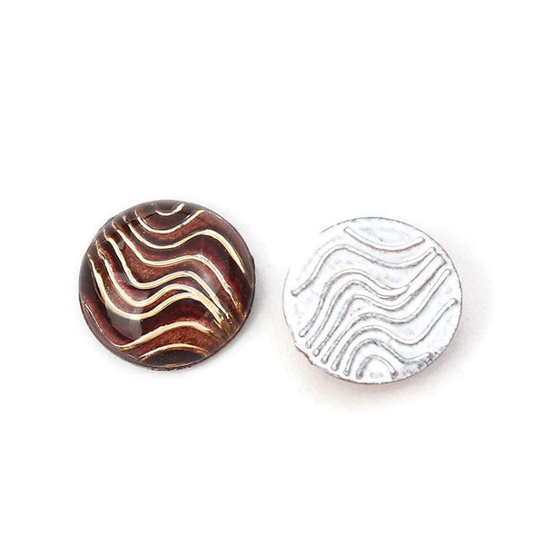 10mm Coffee Stripe cabochon - 10mm Coffee Gold Stripe pattern Cabochon - Domed cabochons - 10mm wave cabochon (2256)