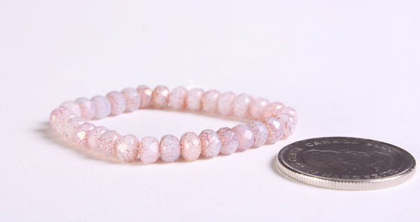 Pink Faceted rondelle beads - Czech beads - Pink Opaline with Pink Gold Luster Finish bead - Opaque bead - 5mm x 3mm (6010)