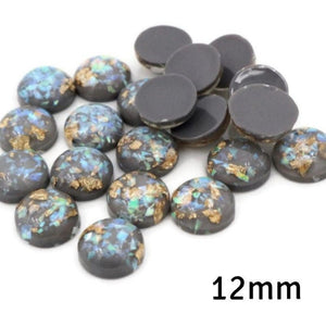 12mm gray cabochon - Gray gold green yellow Glitter Cabochon - Domed Flat Back cabochons  - 12mm glitter cabochons (2229)