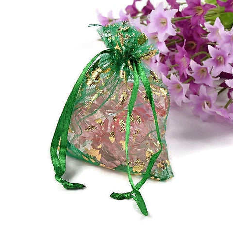 Green and gold organza gift bag - Green and gold flower bag - Organza bag - Party favor bag - Wedding bag - 90mm x 70mm (2029)