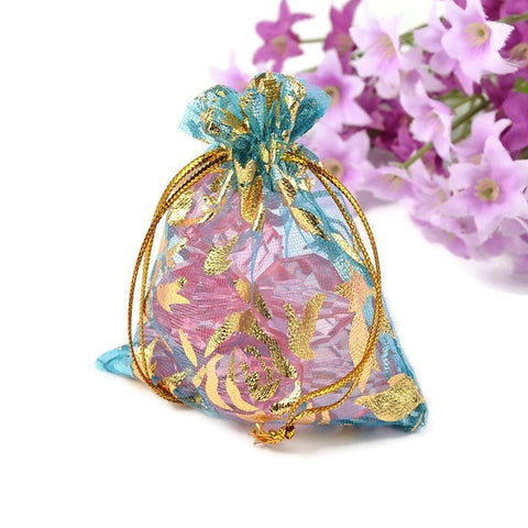 Cyan and gold organza gift bag - Blue and gold flower bag - Organza bag - Party favor bag - Wedding bag - 90mm x 70mm (2030)
