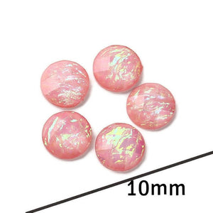 10mm AB Pink foil cabochon - 10mm AB Pink Faceted Cabochon - Domed Flat Back cabochons - 10mm Iridescent cabochon (2241)