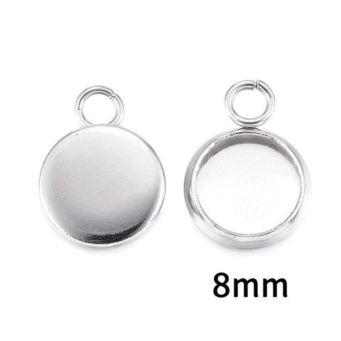 8mm Stainless Steel tray Pendant - 8mm 304 Stainless Steel cabochon settings - 8mm blank tray - round pendant tray with loop (2292)