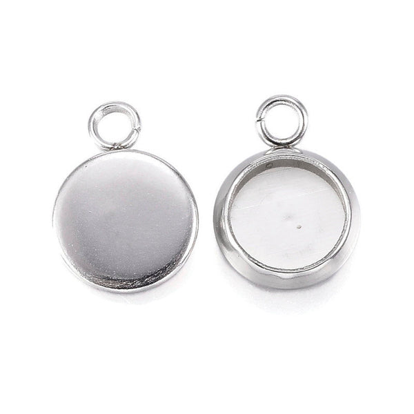 6mm Stainless Steel tray Pendant - 6mm 304 Stainless Steel cabochon settings - 6mm blank tray - round pendant tray with loop (2293)