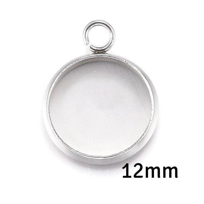 12mm Stainless Steel tray Pendant - 12mm 304 Stainless Steel cabochon settings - 12mm blank tray - round pendant tray with loop (2294)