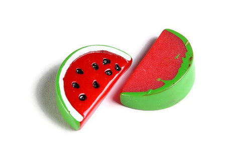 Watermelon cabochon - Resin Watermelon Slice Cabochons - Imitation Food - Miniature Food - Red Green Fruit Cabochon - 22mm x 12mm (1835)