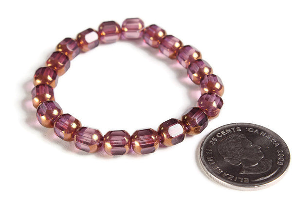 Amethyst beads - Purple Transparent with Yellow Bronze Finish bead - Czech glass beads - faceted beads - 8mm x 7mm (6000)