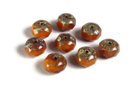 Orange Czech beads - Orange Opaline Mix with Picasso Finish bead - Czech glass beads - Rondelle bead - faceted beads - 9mm x 6mm (6005)