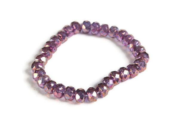 Purple Faceted rondelle beads - Czech glass beads - Purple Transparent with Purple Blue Luster bead - 5mm x 3mm (6006)