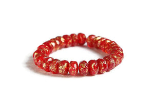 Red Faceted rondelle beads - Czech glass beads - Red Opaline with Antique Gold Finish bead - Rondelle glass bead - 5mm x 3mm (6008)