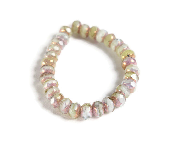 Cream pink green Faceted rondelle beads - Czech beads - Peruvian Opal Mix with Purple Bronze Finish bead - Opaque bead - 5mm x 3mm (6009)