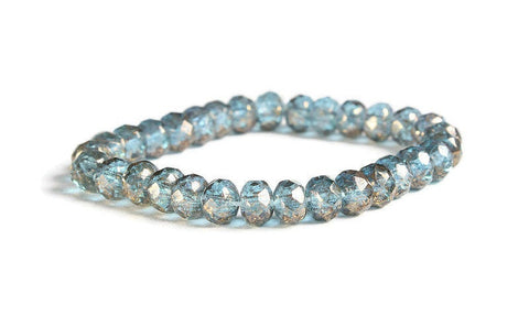 Blue Faceted rondelle beads - Czech beads - Aquamarine Transparent with Antique Gold Finish bead - Opaque bead - 5mm x 3mm (6011)
