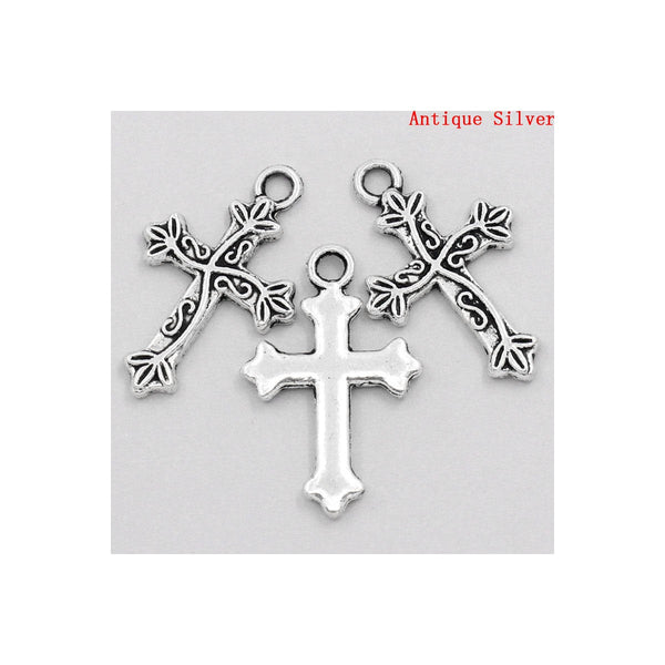 Antique silver cross charm - antique silver cross pendant - Cadmium free - 25mm x 16mm (2231)