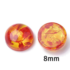 8mm Orange yellow cabochon - 8mm resin cabochon - 8mm Domed Flat Back cabochons  - 8mm Multi Color cabochons (2265)