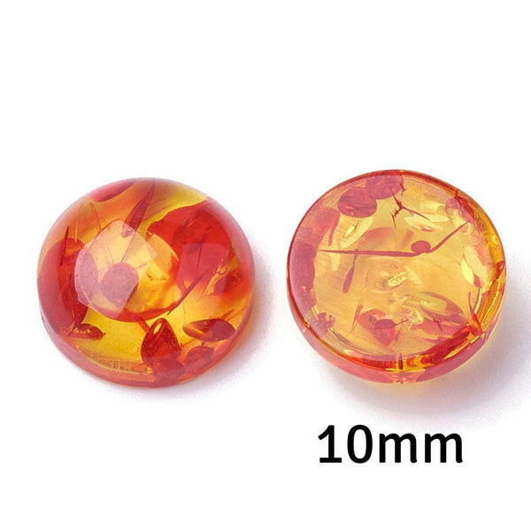 10mm Orange yellow cabochon - 10mm resin cabochon - 10mm Domed Flat Back cabochons  - 10mm Multi Color cabochons (2266)