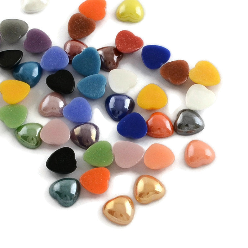 6mm heart cabochons - 6mm mixed color cabochon - 6mm glass cabochons - 6mm Pearlized Plated cabochon - 6mm opaque Cabochons (2274)
