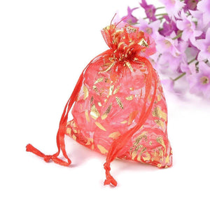 Red and gold organza gift bag - Red and gold flower bag - Organza bag - Party favor bag - Wedding bag - 90mm x 70mm (2028)