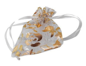 White and gold organza gift bag - White and gold flower bag - Organza bag - Party favor bag - Wedding bag - 90mm x 70mm (2031)