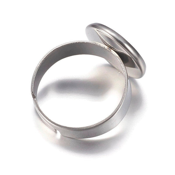 12mm Stainless steel ring - blank adjustable ring - Blank ring cabochon base - 12mm inner tray - Lead free - Cadmium free (2290)