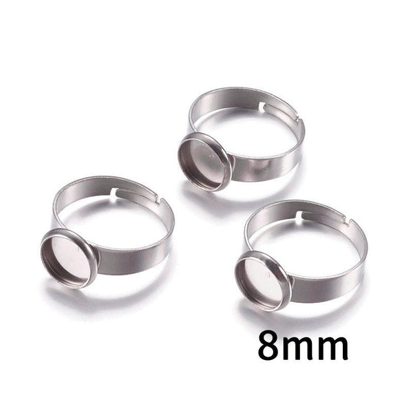 8mm Stainless steel ring - blank adjustable ring - Blank ring cabochon base - 8mm inner tray - Lead free - Cadmium free (2291)