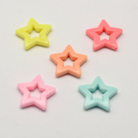 27mm mixed color star beads - 27mm star pendant - 27mm star beads - Pastel star bead - assorted star bead (1769)