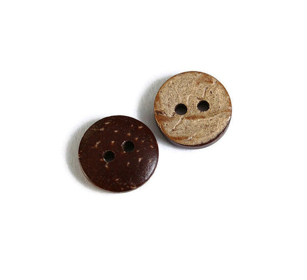 10mm Coconut round button - brown Coconut button - Jewelry button - craft button - Fun buttons - Coconut buttons - 2 holes button (1765)