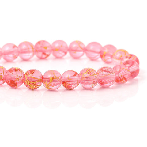 8mm Drawbench glass beads - 8mm pinkyellow beads - 8mm Pink Drawbench round glass bead (1886)