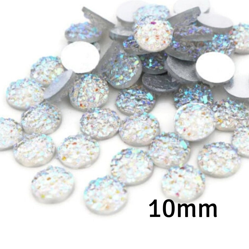10mm White silver AB round cabochon - Faux druzy cabochon - Faux drusy cabochons - Textured cabochon - 10mm glitter cabochons (2299)