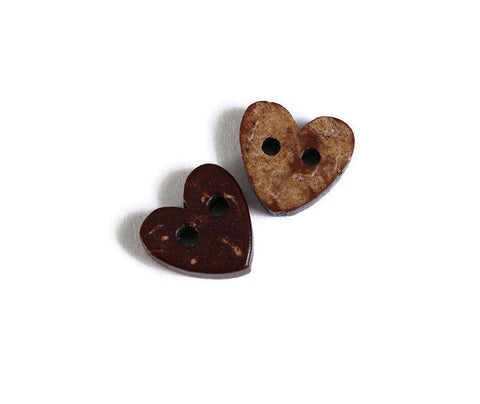 10mm Coconut heart button - brown Coconut button - Jewelry button - craft button - Fun buttons - Coconut buttons - 2 holes button (1764)
