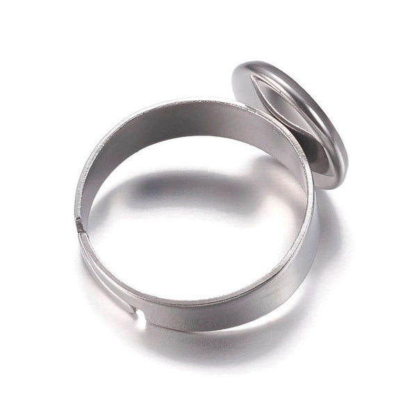 10mm Stainless steel ring - blank adjustable ring - Blank ring cabochon base - 10mm inner tray - Lead free - Cadmium free (2314)