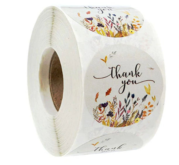 "Thank you stickers - Thank you flowers labels - 1"" round labels - Autumn Flowers message label (2322)"