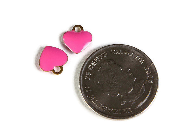 Pink heart charms - Brass charms with Enamel - Gold Plated heart charms - 10mm - Nickel Free (2268)