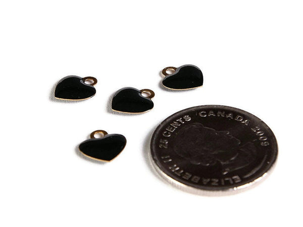 Black heart charms - Brass charms with Enamel - Gold Plated heart charms - 10mm - Nickel Free (2270)