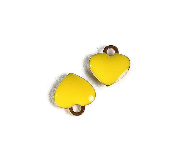 Yellow heart charms - Brass charms with Enamel - Gold Plated heart charms - 10mm - Nickel Free (2272)