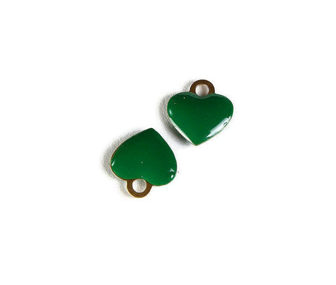 Green heart charms - Brass charms with Enamel - Gold Plated heart charms - 10mm - Nickel Free (2267)